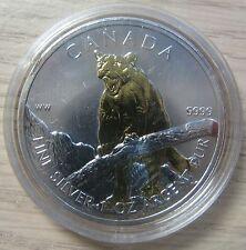 2012 Bullion $5 1oz Cougar .9999 Silver Maple Leaf w/ gold plate Canada SML