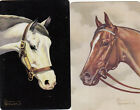 2 (pair) vintage playing swap cards - Horse Horses heads by Artist Brewster