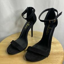 Lulus Black Suede Ankle Strap Stiletto Heel Sandals Women's Size 7