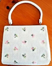 Vintage Lumared Purse White With Pastel Details 1960s to1970s