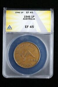 1946 1P Australia 1 Penny ANACS XF45 Low Mintage