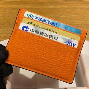 New Genuine Pebbled Slim Leather Cardholder Minimalist Design Wallets For Men