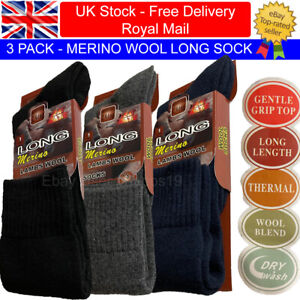 3 Pairs Mens Thick Merino Wool LONG SOCKS Thermal Warm Black Navy Grey 2.4 TOG
