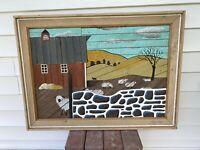 Vintage Theodore Degroot signed lath art folk Americana 3D wood Mid century MCM