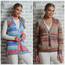 KNITTING PATTERN Ladies Easy Knit Waistcoat & Long Sleeve Cardigan Chunky 4850