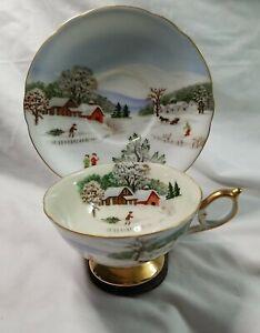 "RARE Lefton 1950's Four Seasons ""Winter""Tea Cup & Saucer Set Hand Painted"