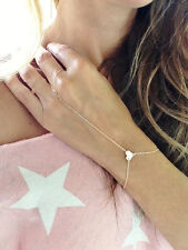 Bohemian Women Gold Tone Love Heart With Finger Ring Bracelet Handchain Hot