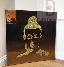 Gold Glitter Liquid Glass Buddha on Bronze Bevelled Glass Wall Mirror 75X75CM