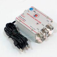 Amplificatore segnale antenna TV DIGITALE TERRESTRE via cavo 3 USCITE +20dB