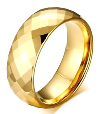 TUNGSTEN CARBIDE Faceted Gold Plated Highly Polished RING BAND, size 12
