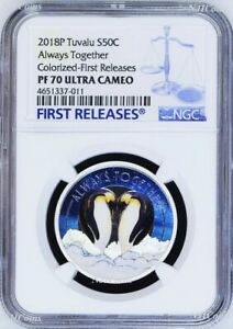 2018 TUVALU Always Together Penguin Couple Silver Proof NGC PF 70 1/2oz Coin FR