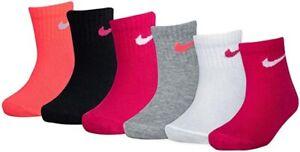 Nike Girls Toddler 6 Pair Quarter Socks Pink Black White 12-24 Months