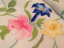 Vintage Hand Embroidered Cream Linen Tablecloth EXQUISITE FLOWERS