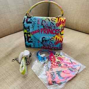 small crossbody satchel bag chic stylish graffiti mini satchel bag