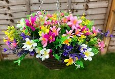 Hanging Basket With Artificial flowers lilies berries bright colours hand made