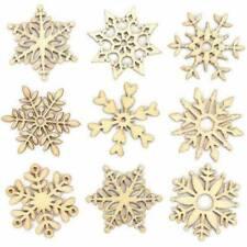 10Pcs Christmas Natural Wood Chip Ornament Xmas Tree Snowflake Hanging Decors~
