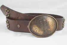 "Nacona ""Cowgirl"" Children's Western Leather Belt Metal Belt Buckle Size 20 Bling"