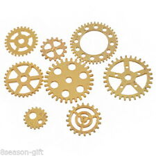 8PCs Vintage Steampunk Gold Plated Watch Parts Gears Cogs Pendant Jewelry Craf