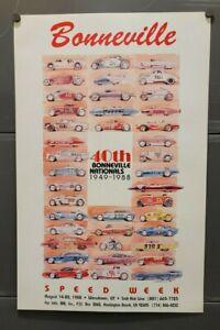 Vintage Original Official BONNEVILLE POSTER Land Speed Racing hot rod Race Cars