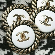 New listing Chanel Buttons Stamped 4pc Cc White 23 mm Vintage Style 4 Buttons Auth!