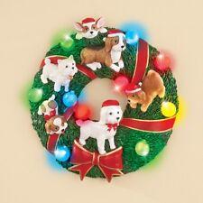 Joyful Puppy Dog Lighted Christmas Wreath Door/Wall Decoration