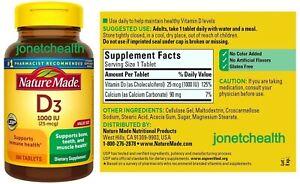 (300 CT) Nature Made Vitamin D3 1000 IU Supports Immune Bone Teeth Muscle Health