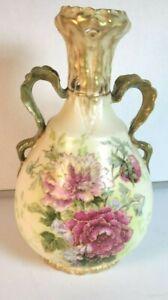 Amphora Ernst Wahliss Vase Pottery Vienna Austria Yellow w/Red Flowers