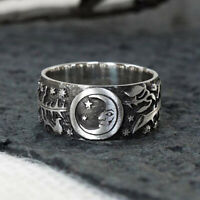 925 Silver Carved Sun Moon Rose Magic Ring Celestial Wedding Ring Gift Size 5-10