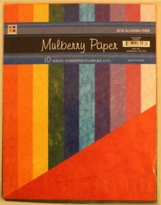 10 sheet mulberry scrapbook paper bright colors pink green yellow turquoise blue