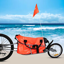 Outdoor Bicycle Trailer Cargo Luggage Transport Cart Tail Wagon Hitch One Wheel