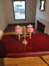 DOLLHOUSE MINIATURE  PINK SHADE  DESK LAMP