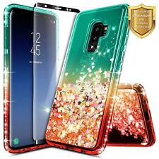For Samsung Galaxy S9 Case Glitter Teal Case With Screen Protector Shockproof