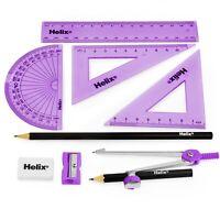Helix Cool Curves Maths Geometry Exam Set - 9 Piece Assorted Purple