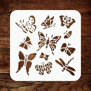 Butterfly Stencil, Stylized Insect Bug Butterflies Stencils