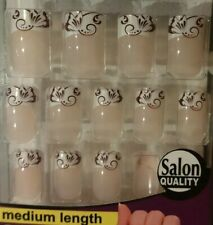BUTTERFLY SCROLLS French Manicure Nailene Nails NEW Designer 24pc medium length