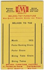 RARE  Orig Shipping Tag - Melora Toy Furniture 1923 Dansville NY Dollhouse chair