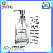 Soap Dispenser with Jumbo Rust Proof 18Oz Stainless Steel Pump & Clear Stickers