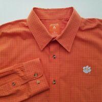 Antigua Mens Orange Clemson Tigers Button Front Long Sleeve Shirt Size XL N407P