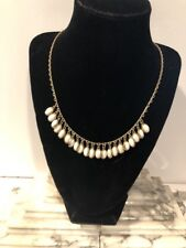 NICE Vintage Gold Tone Wedding White Milk Glass Cab Stone Type Necklace adjustab