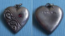 puffy heart sterling charm Vintage repousse red stone