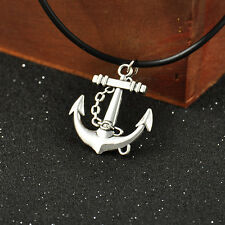 Hot Sale!Anchor Tibetan Silver Pendant Necklace Charms Black Leather Cord Hot