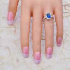 Natural 2.60 Ct Blue Sapphire Gemstone Rings White Gold Finish Silver Size M N P
