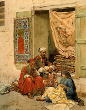 Oil painting giulio rosati - the carpet seller Arab figures free shipping 24x36""
