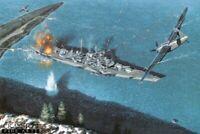 German Battleship Tiurpitz naval aviation art print Fairey Barracuda Bomber FAA