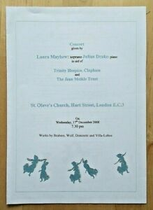 Laura Mayhew & Julius Drake Concert programme St. Olave's Church 17th Dec 2008