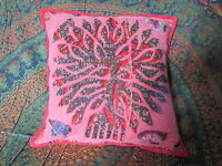 Indian Applique Cushion Cover Colourful Elephant Red Tree Sofa Design Hippy Boho