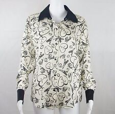 Catherine Malandrino For Design Nation Paris Print Blouse Size Small White