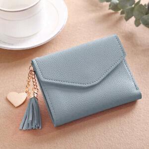 Womens Mini Bag Tassel Short Wallet Coin Purse Organizer Card Holder