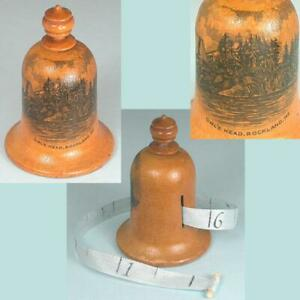 Antique Scottish Mauchline Ware Bell Tape Measure * C1890s * Owl's Head Maine