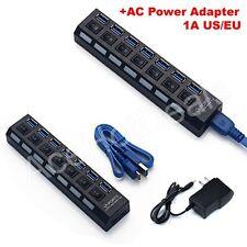 7 Ports USB 3.0 Hub with On/Off Switch + AC Power Adapter For Desktop Laptop